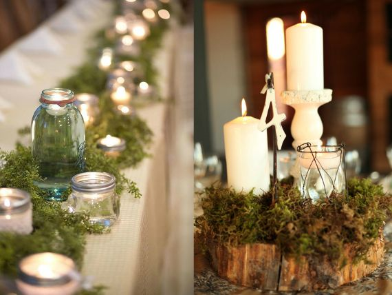 Mason jar center piece mason jar moss centerpieces for Mason jar wedding centerpiece ideas