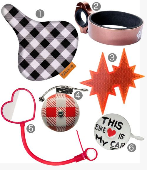spring bike accessories - seat cover, reflectors, mirrors, bells!