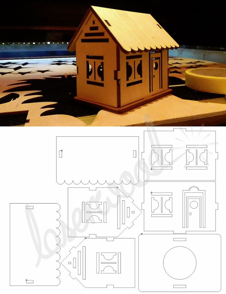 Small laser cutted plywood house pattern - by laserwood.hu
