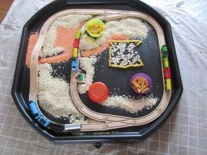 sensory play with trains