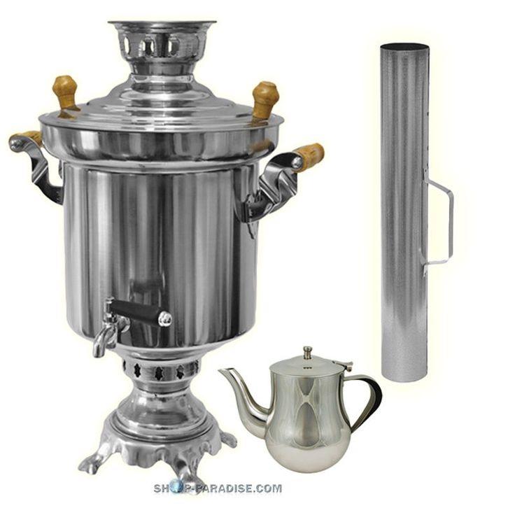 Samowar Holzkohle 5 Liter, Teekanne, Edelstahl Samovar Wasserkocher Teekocher