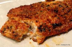 Oven Baked Parmesan Crusted Tilapia - This recipe is simple and very tasty. We made this last night along with a batch of rice pilaf and some corn. We bought  two fillets, cut the recipe in half and baked it in the toaster oven. It came out perfectly!