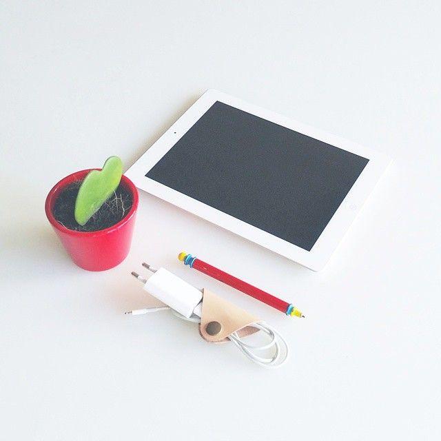 Leather cord organizer. Clip cord holder.