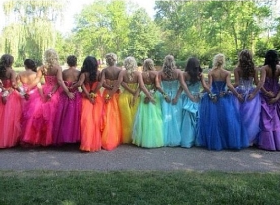 Rainbow bridesmaid dresses!<3