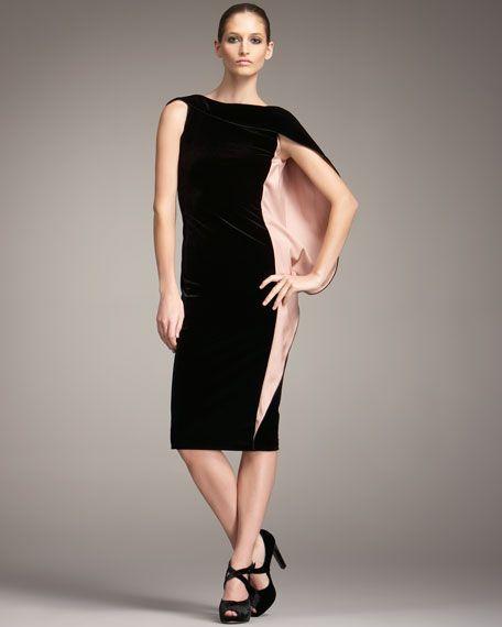 db2dae5512f Giorgio Armani black velvet dress with cape sleeve