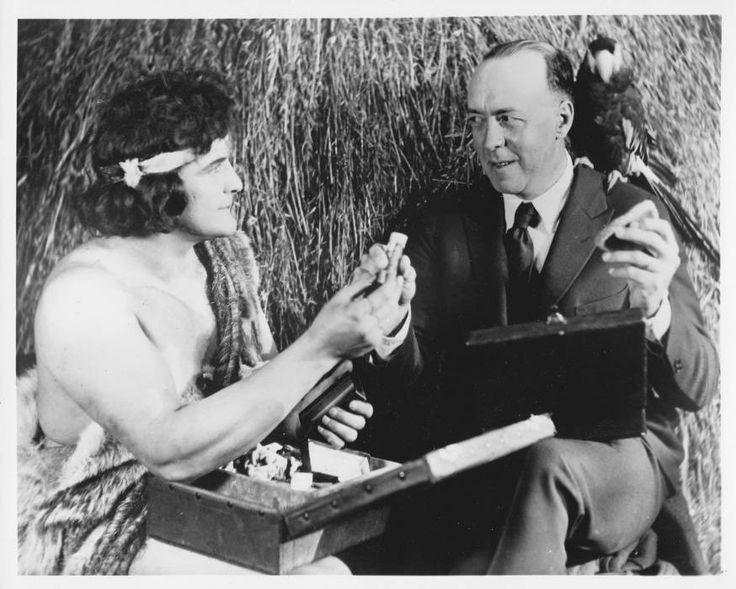 8x10 photo of EDGAR RICE BURROUGHS & Tarzan actor Elmo Lincoln