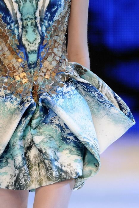 Alexander McQueen. Spring 2010 RTW. Print is computer-generated satellite images.