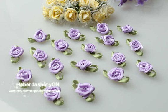 AA20 FREE SHIP 450pcs Satin Ribbon Violet Flower by haberdasheryCN, $16.00