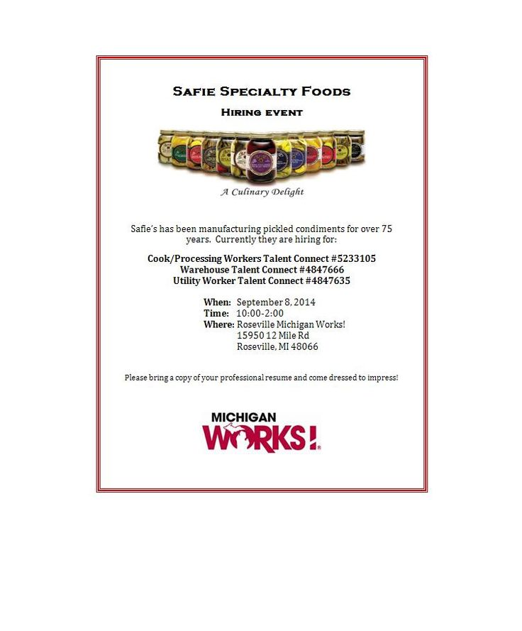 Safie Specialty Foods Will Be At Our Roseville Office On From Pm Bring Your  Resume And Come On By To Meet Them!
