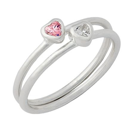 Sterling Silver Pink and CZ 2 Heart Ring