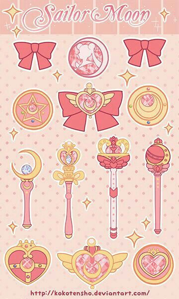 :D broches y baculos d Sailor Moon!                                                                                                                                                     Más