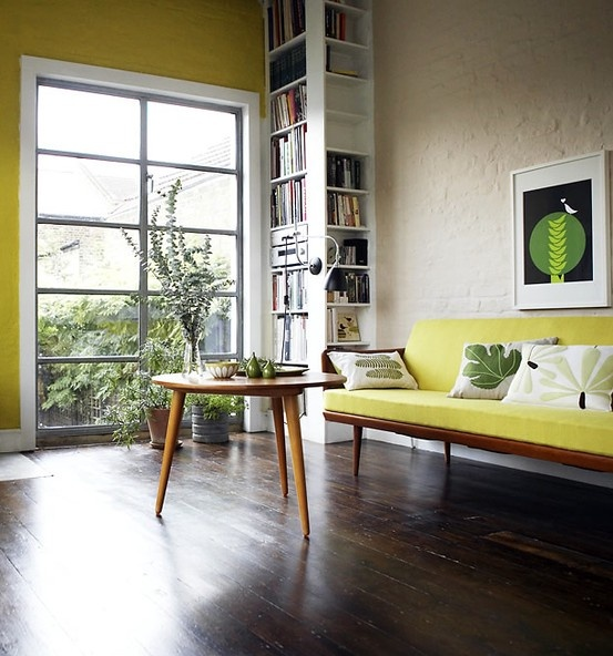 Lime accent wall + sofa / midcentury