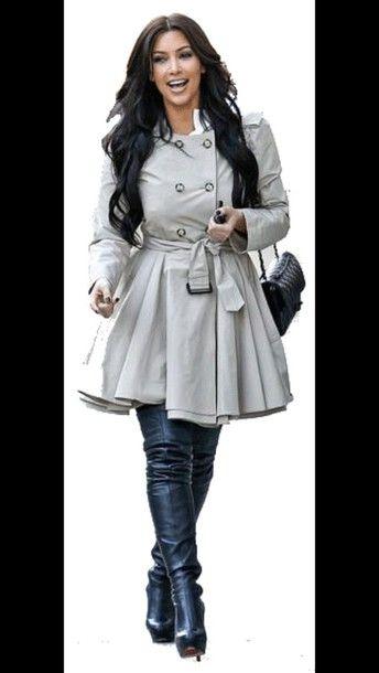coat grey kim kardashian chanel bag trench coat louboutin kardashians black boots grey coat