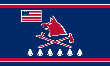 The current flag of the Pawnee Nation of Oklahoma, dating from 1977, reflects a long association with the United States (The Flag of the Pawnee Indians - Pawnee Nation, Pawnee Nation of Oklahoma, unsigned letter, n.d.). It is blue and bears a small stylized representation of a U.S. flag in the upper part of the flag.
