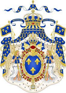 Grand Royal Coat of Arms of France. Grands Officiers de la Maison du Roi. - 4) LA MAISON DU ROI. - A) LA MAISON CIVILE. Elle est divisée en départements, de nombre variable au cours de l'époque moderne. Sous Louis XIV elle en compte 22. Ceux-ci étaient dirigés par les GRANDS OFFICIERS DE LA MAISON DU ROI, titre distinct (malgré quelques recoupements) de celui de Grand Officier de la Couronne, membres de la haute noblesse ou du haut clergé. Voici les départements les plus importants: