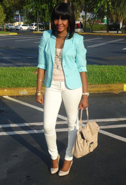 Pastel #Mint #Blazer with white jeans. So clean and fresh!