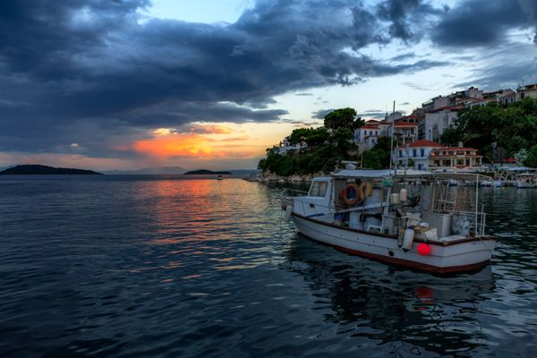 Sunset over Skiathos Town