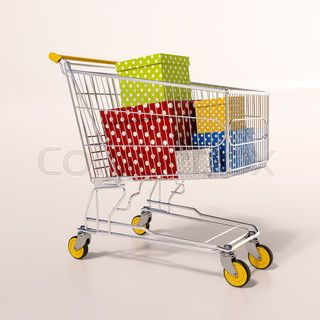 Shopping cart full of purchases in packages