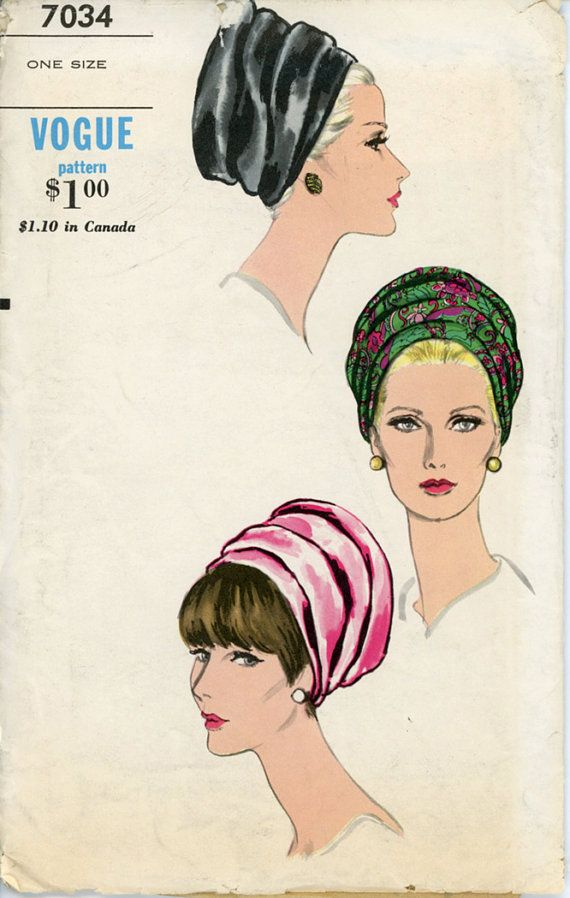 Vogue 7034 Misses 1960s Bias Cut Hat Pattern Beehive Turban Draped Folded Evening Hat Womens Vintage Sewing Pattern One Size