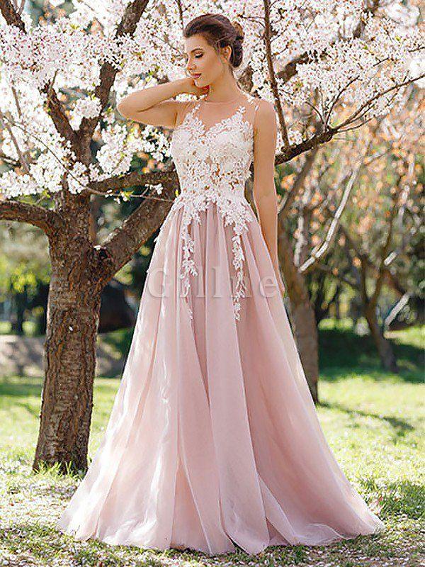 Natürliche Taile Ärmellos Prinzessin Tüll Abendkleid mit Juwel Ausschnitt