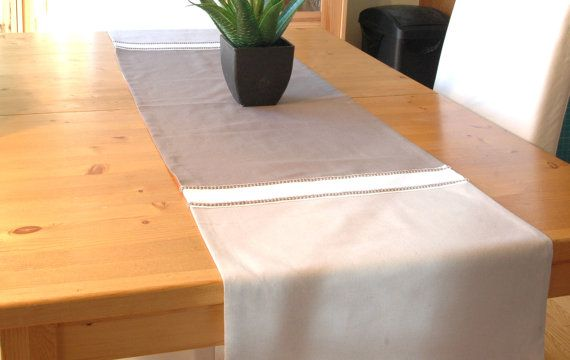 Table runner 100 linen lined with cotton 3 tones by CreationsNikki, $43.00