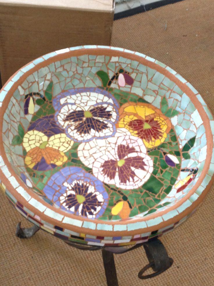 Mosaic Pansy Birdbath Mosaic Pinterest Pansies