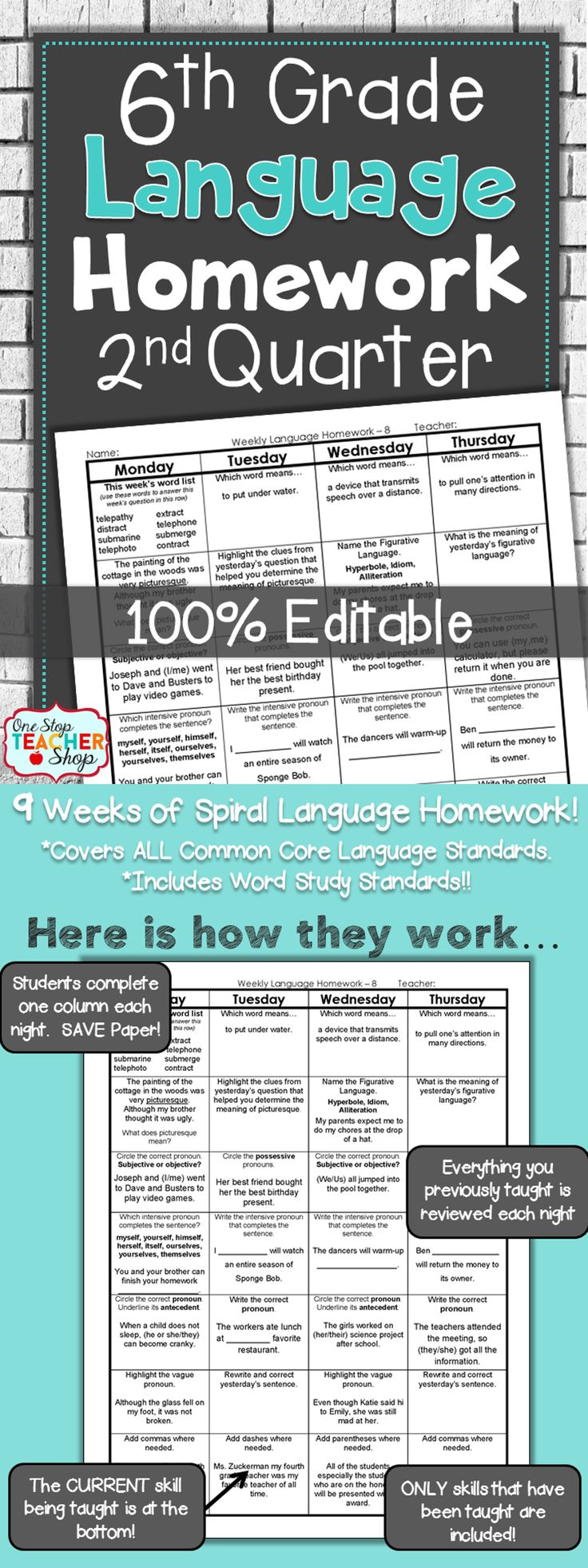 Spiral Language Homework, Bell Ringers, or Daily Review for the ENTIRE 2nd Quarter of SIXTH GRADE! Aligned with 6th grade Common Core Language standards {Grammar & Word Study}. These sheets are 100% EDITABLE, and come with answer keys. Paid