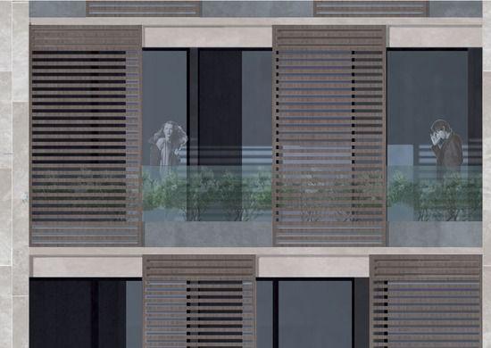 edificio residenziale, milano , copertura verde, pareti verdi, dettaglio infissi, legno, rivestimento pietra