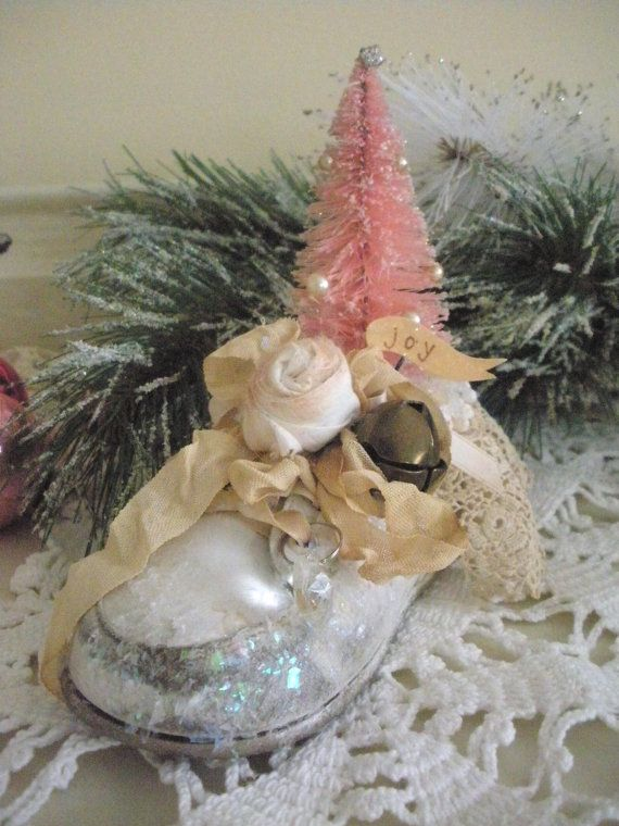 altered bottle brush tree | Altered Vintage Baby Shoe Decoration, Pink Bottle Brush Decoration ...