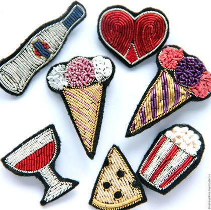 """Embroidered brooches / Броши ручной работы. Заказать Брошь """"Мороженое"""" ручная вышивка .. Вышивка с улыбкой от Dinslava. Ярмарка Мастеров. Брошь ручной работы"""