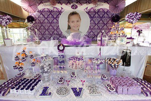 Mor ve lila renklerde Balerin temalı 4 yaş partisi, kişiye özel parti fikirleri, parti malzemeleri, kişiye özel tasarımlar