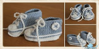Anleitung zum Häkeln von Babychucks/ Tutorial how to crochet babyshoes looking like chucks   so cute