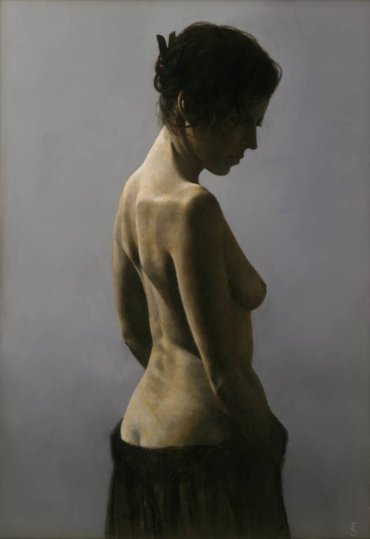 Zoe VIII, a Oil on Canvas by Fletcher Sibthorp from United Kingdom. It portrays: Women, relevant to: realism, classical, female, figurative, nude Nude back with grey background