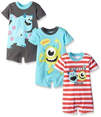 Amazon.com: Disney Baby Boys' Monsters Inc Sully and Mike 3 Pack Rompers: Clothing