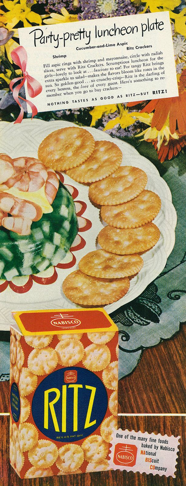 """1946 Food Ad, Nabisco Ritz Crackers, """"Party-Pretty Luncheon Plate"""""""