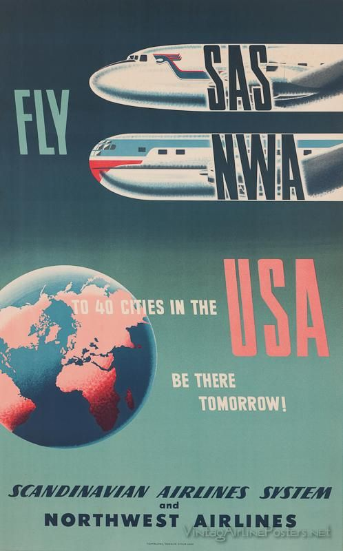 US Tourism - SAS and Northwest Airlines - Cooperative Marketing Venture - Vintage Travel Poster