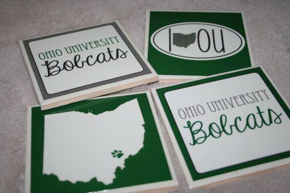 4 Ohio University Bobcats Tile Coasters by ElegantElliephant, $30.00
