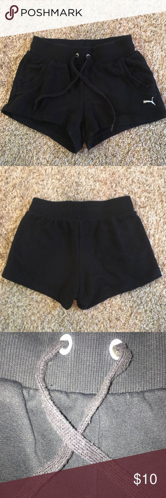Black Puma Soft Shorts super comfortable! some slight pilling on the drawstrings but otherwise in excellent condition Puma Shorts