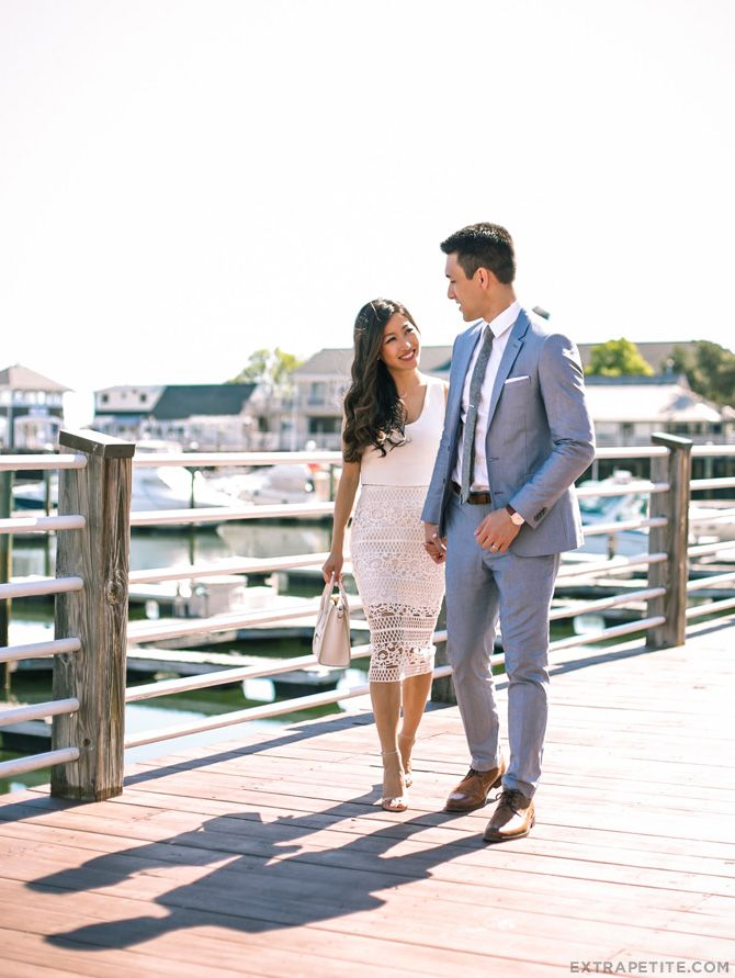 His & Hers summer style: White crochet skirt + oxford blue suit