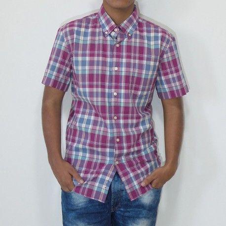 Camisa Sonoma manga corta con bolsillo a cuadros borgoña