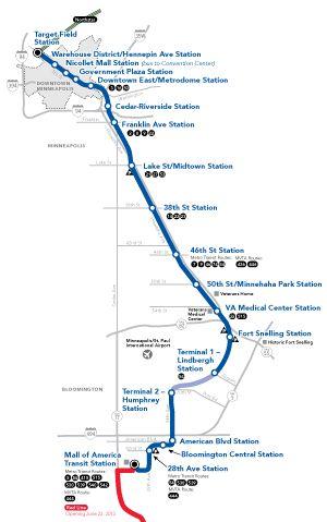 Lightrail Blue Line map