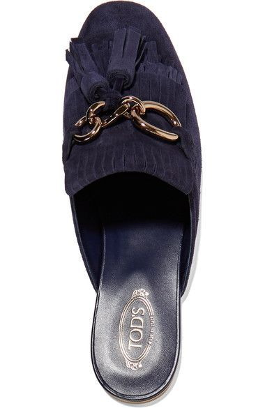 Tod's - Fringed Suede Slippers - Midnight blue - IT37.5