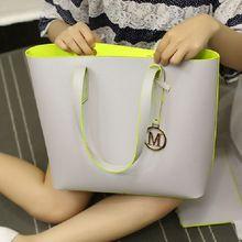 Women Handbags Pu Leather Composite Bags Big Gray Shoulder Bag Designer Bags Handbags Women Famous Brands Set Tote+Clutch Bag(China (Mainland))