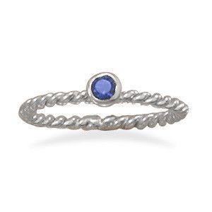 Dark Blue Glass Stackable September Birthstone Ring