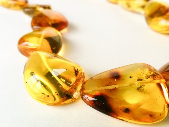 Beautiful Gold And Amber Pendant With Insect