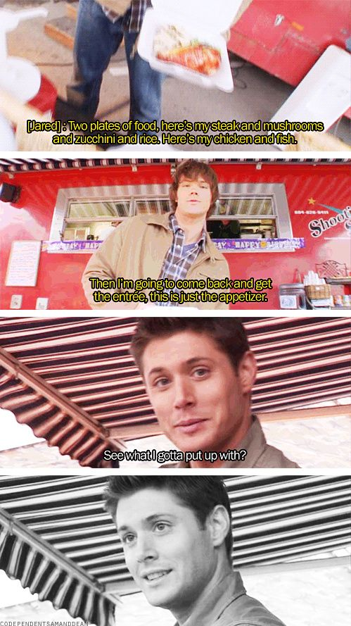 [gifset] Jared and Jensen on Jared's extreme eating habits <3 #Jared #Jensen <-- growing boys have to eat