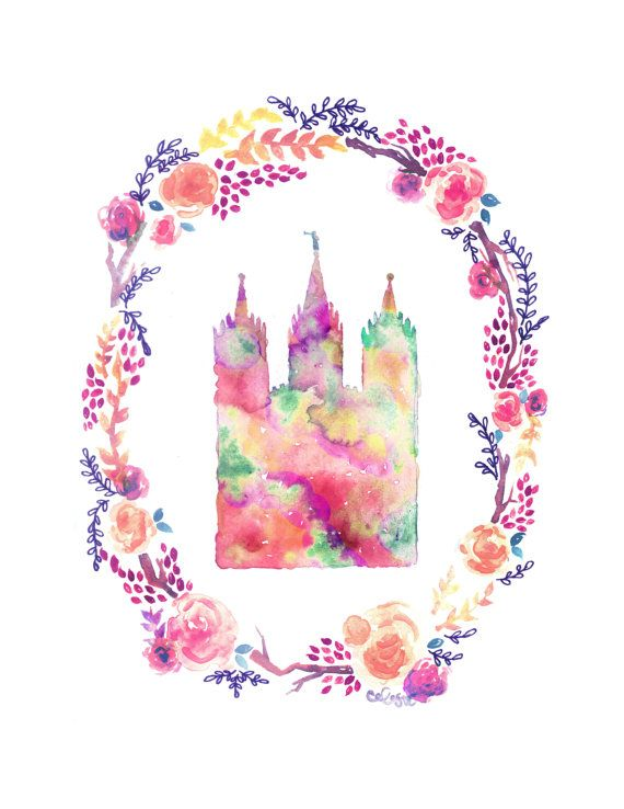 A print of my original watercolor piece of the Salt Lake City Temple. Printed on HQ 80# matte poster paper  VIEW MY OTHER VERSION OF THIS TEMPLE
