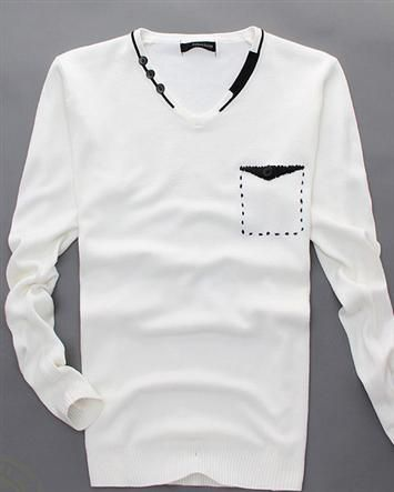 Casual Solid V Neck Slim Long Sleeve Knitted Pullover Men Sweaters