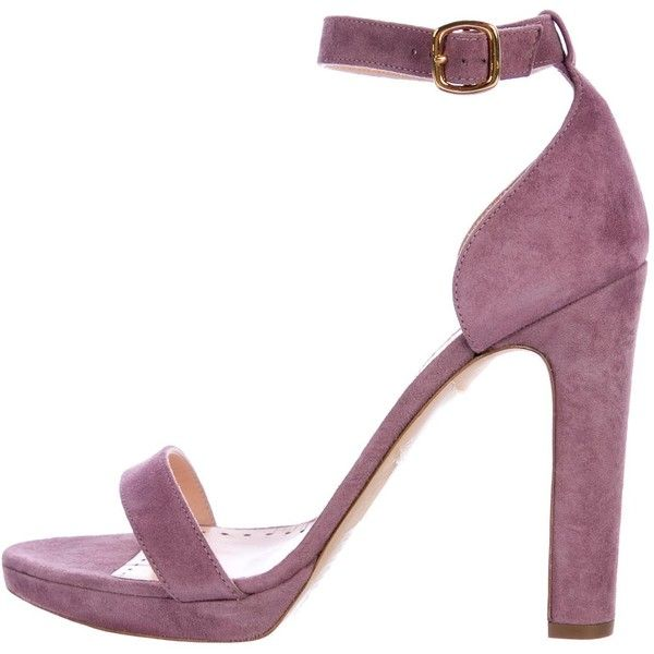 Pre-owned Rupert Sanderson Preciosa Ankle Strap Sandals (3.788.675 IDR) ❤ liked on Polyvore featuring shoes, sandals, purple, suede leather shoes, suede sandals, pre owned shoes, ankle strap sandals and ankle wrap sandals
