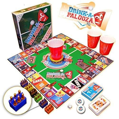 """DRINK-A-PALOOZA Board Game: combines """"old-school""""  """"new-school"""" drinking games & adult games featuring Beer Pong Flip Cup Kings card game & all the best party games for adults"""